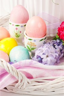 Happy Easter, flowers, eggs, spring iPhone Wallpaper Preview