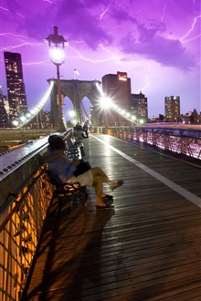 New York, USA, bridge, people, storm, night, lights iPhone Wallpaper Preview