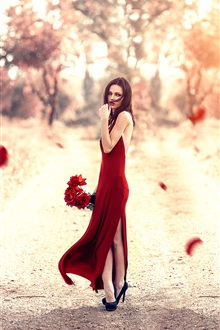 Red dress girl, rose flowers iPhone Wallpaper Preview