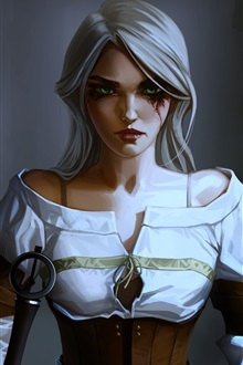 The Witcher 3: Wild Hunt, white hair girl iPhone Wallpaper Preview