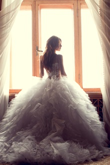 White dress girl, window, curtains iPhone Wallpaper Preview