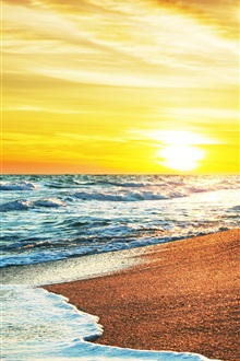 Beach at sunset, sea, sands iPhone Wallpaper Preview