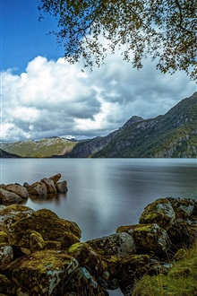 Bjerkreim, Rogaland, Norway, lake, mountains, trees, rocks, clouds iPhone Wallpaper Preview