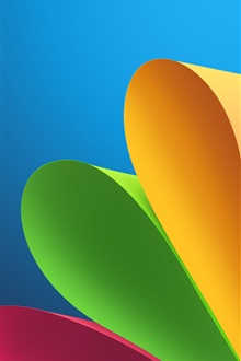 Curled paper, red green yellow, abstract pictures iPhone Wallpaper Preview