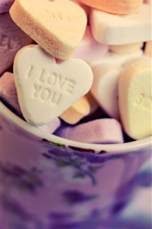 Love hearts food, cookies iPhone Wallpaper Preview