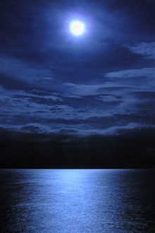Moon, lake, water, night iPhone Wallpaper Preview