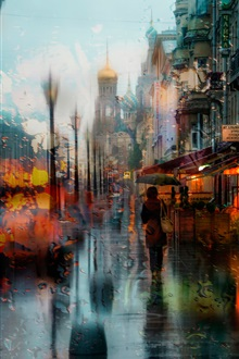 Rainy day, city, evening, lights iPhone Wallpaper Preview