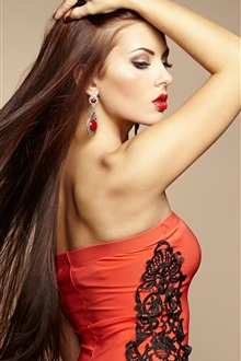 Red dress fashion girl, long hair iPhone Wallpaper Preview