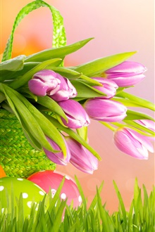 Tulips flowers, Easter, basket, eggs, grass iPhone Wallpaper Preview