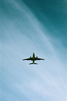 Airplane flight, blue sky iPhone Wallpaper Preview