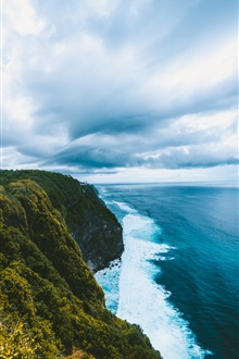 Cliff, sea, waves, clouds iPhone Wallpaper Preview