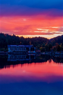 Germany, Bavaria, lake, buildings, city, sunset iPhone Wallpaper Preview
