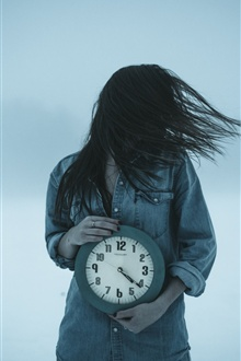 Girl and clock, wind iPhone Wallpaper Preview