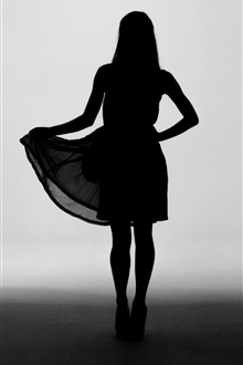Girl silhouette, skirt iPhone Wallpaper Preview