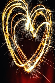 Love hearts fireworks, sparks iPhone Wallpaper Preview