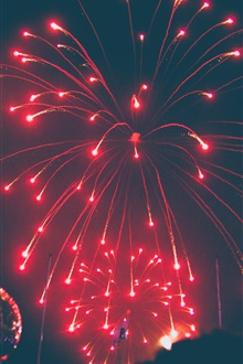 Red fireworks, night iPhone Wallpaper Preview