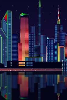 Vector design, city, skyscrapers, night iPhone Wallpaper Preview