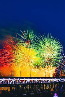Beautiful colorful fireworks, city night iPhone Wallpaper Preview