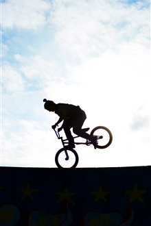 Biker, silhouette, extreme sport iPhone Wallpaper Preview