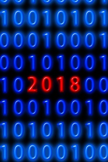 Blue binary code, red 2018 New Year iPhone Wallpaper Preview
