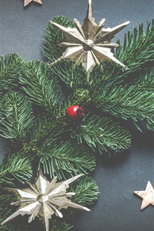 Christmas tree, stars, decorations iPhone Wallpaper Preview