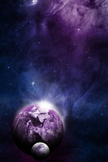 Earth, moon, universe iPhone Wallpaper Preview