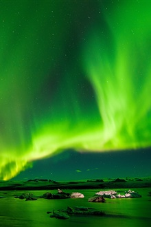 Radiance sky, northern lights, night, green iPhone Wallpaper Preview