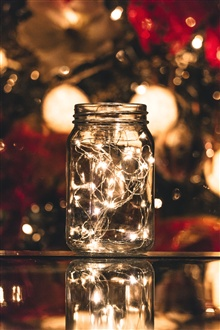 Glass jar, lights, bright iPhone Wallpaper Preview