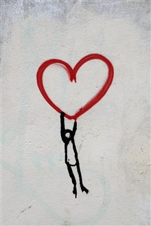 Love heart, kid, graffiti wall iPhone Wallpaper Preview