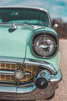 Blue retro car front view, headlight iPhone Wallpaper Preview