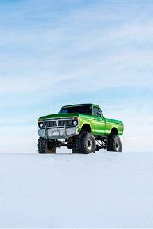 Ford green pickup, snow iPhone Wallpaper Preview