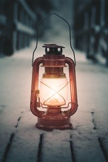 Lantern, snow, winter iPhone Wallpaper Preview