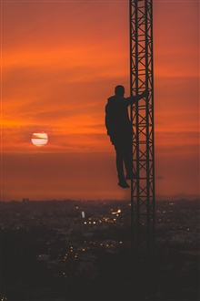 Man, night, silhouette, height iPhone Wallpaper Preview