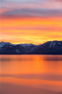 Mountains, lake, morning iPhone Wallpaper Preview