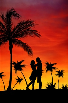 Palm trees, couple, love, sunset iPhone Wallpaper Preview