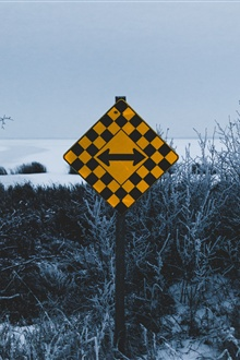 Road pointer, arrow, winter, snow iPhone Wallpaper Preview