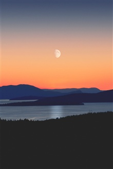 Mountains, river, moon, evening iPhone Wallpaper Preview