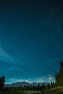 Mountains, trees, blue sky, stars iPhone Wallpaper Preview