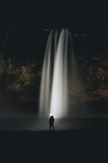 Waterfall, night, man iPhone Wallpaper Preview