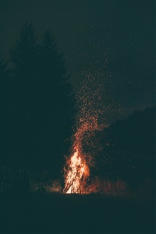 Night, bonfire, fire, sparks iPhone Wallpaper Preview