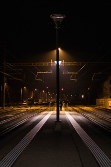 Railway Station, night, lights iPhone Wallpaper Preview