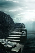 3D design stone steps iPhone wallpaper
