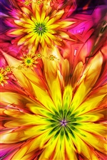 Abstract colorful flowers iPhone wallpaper