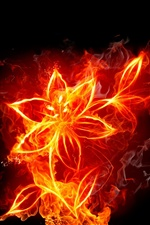 Abstractive fire flowers iPhone wallpaper