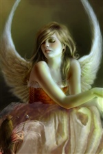 Angel girl elf wings iPhone wallpaper