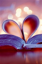 Book, bookmark, love heart iPhone wallpaper