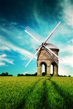 Dream landscape, windmill, fields, blue sky iPhone wallpaper