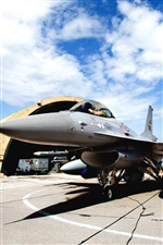 F-16A fighter stop at hangar iPhone wallpaper