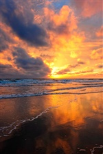 Fire red clouds sky, beautiful sunset beach iPhone wallpaper