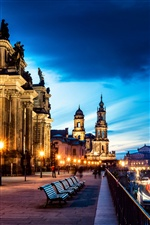 Germany, Altstadt, Dresden, city night iPhone wallpaper
